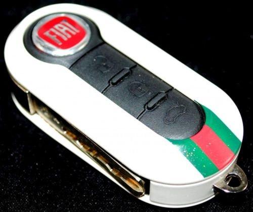 Fiat 500 Cinquecento Copritastiera in Gucci bianco lucido. Key Cover.