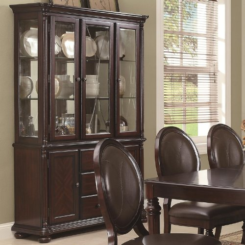Cheap China Cabinet Buffet Hutch with Mirrored Back in Brown Cherry Finish (VF_103204)
