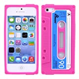 Yafex Vintage Cassette tape Silicon Protector Case Cover For Apple iPhone 5/5S iPhone 5 iPhone 5s (Deep Pink)