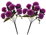 Fourwalls Chrysanthemum Ball Flower Bouquet (49 cm, Dark Purple, 7 Branches, Set of 2)