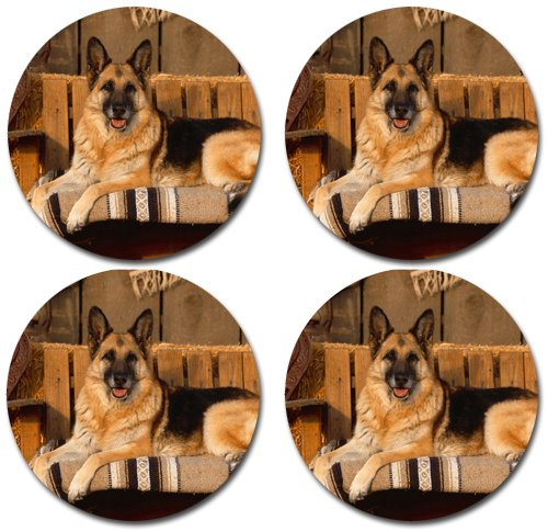 German Shepherd Dog Rubber Round Coaster set (4 pack) Great Gift Idea