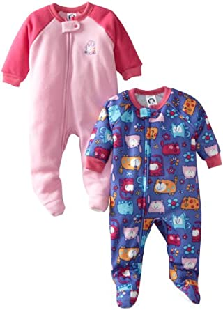 Gerber Baby-girls Infant 2 Pack Cats Galore Sleeper Blanket, Pink/Purple, 6 Months