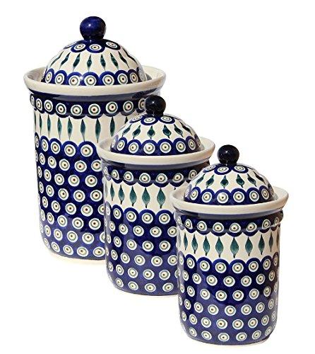 Polish Pottery 3 Pc Canister Set From Zaklady Ceramiczne Boleslawiec 1244/1243-56 (Pottery Kitchen compare prices)
