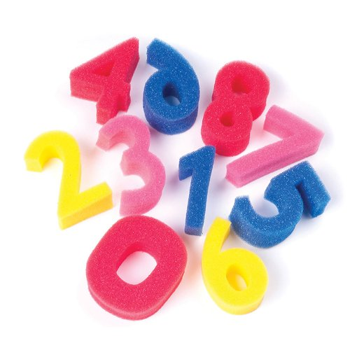 Sponge Numbers, 3 High, 0-9 Numbers, 10 Sponges/pack - 1