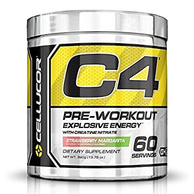 C4 Fitness Training Pre-Workout Supplement for Men and Women - Enhance Energy and Focus with Creatine Nitrate and Vitamin B12, Strawberry Margarita, 60 servings ,390g by Cellucor