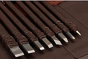 RAKUKAIMONO 8pcs Stone Carving Tool Chisels / Knife Set Kit Tungsten Alloy Steel with Leather Bag (Color: 8pcs+1*leather case)