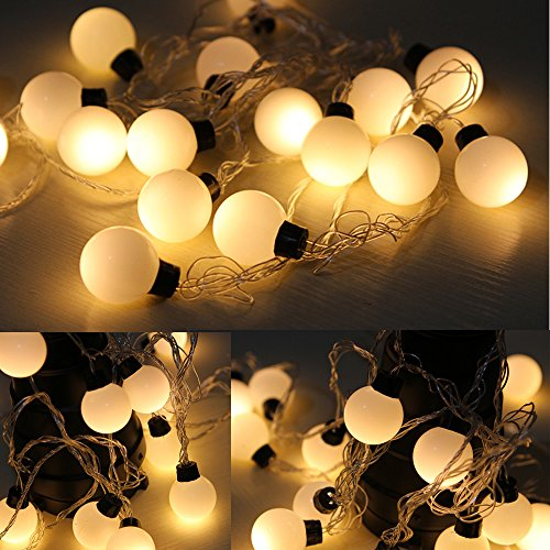 TOOZI 16.4ft 5M 20leds 2Inch Diameter Waterproof Connectable Outdoor Garden Party Patio Bistro Market Cafe Hanging Umbrella Lamp Globe String Lights (Warm White) (Heat Lamp Hanging compare prices)