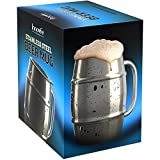 Innovee Beer Mug - Premium Stainless Steel Mug/Coffee Cup With Bonus Lid - 16.9 OZ Double Wall Air Insulated - Better Then Glass Mugs - Perfect Gift For Men (Color: Silver)