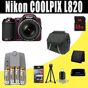 Nikon COOLPIX L820 16 MP Digital Camera with 30x Zoom (Plum) 2600 mAh 4 AA Pack NiMH Rechargeable Batteries and Charger + 8GB SDHC Class 10 Memory Card + Carrying Case + SDHC Card USB Reader + Memory Card Wallet + Deluxe Starter Kit Bundle DavisMAX Accessory Kit
