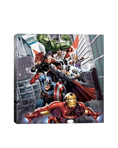 Avengers & The Vision Attack Poster Gallery-Wrapped Canvas Print