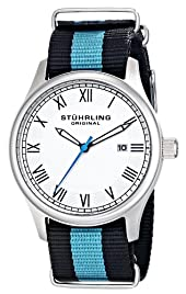 "Stuhrling Original Unisex 522.01 ""Gen X Liberty"" Stainless Steel Watch with Canvass Band"