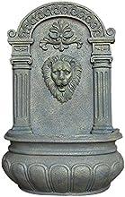 Sunnydaze Imperial Lion Solar Wall Fountain Limestone Finish 32 Inch Tall