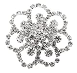 Ladies Silver with Clear Iced Out Symmetrical Flower Style Brooch & Pin Pendant