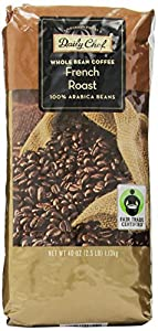 Daily Chef Finest Whole Bean Coffee, French Roast, 2.5 Pound