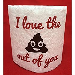 Funny I Love the Krap Out Of You Toilet Paper Gag Gift ~ Anniversary Birthday Mother's Day Father's Day Boyfriend Girlfriend Husband Wife Novelty ~ Poop Emoji