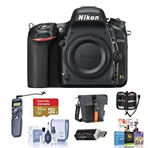 Nikon D750 FX-Format Digital SLR Body Only Camera - Bundle with Camera Bag, 32GB Class 10 SDHC Card, Remote Shutter Trigger, Cleaning Kit, SD Card Case, SD Card Reader, Pro Software Package