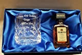 Crystal Glass Personalised with your Own Message up to 30 Letters, With Miniature Disaronno Amaretto in Silk Lined Gift Box