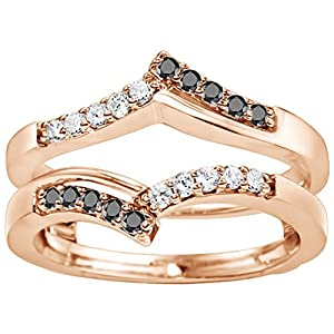0.38CT Black and White Diamonds Chevron Prong Set Wedding Ring Guard set in Rose Gold Plated Sterling Silver (0.38CT TWT Black And G-H I1-I2 Diamonds)