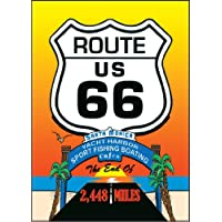Magnet - Santa Monica Pier Sunset - Route 66 Shield (Vertical)