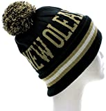 Absolute Clothing New Orleans Block Letters Cuff Beanie Knit Pom Pom Hat Cap