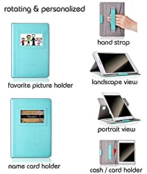 Samsung Galaxy Tab A 8.0 Case,Thankscase Rotating Case with Business Card Holder for Personalization or Company Logo,with Wallet Pocket and Hand Strap Case for Galaxy Tab A 8.0 2015.(Mint Leather)