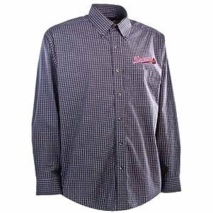 Atlanta Braves Esteem Button Down Dress Shirt (Team Color) by Antigua