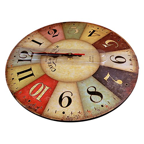 Wood Wall Clock, NALAKUVARA Vintage Colorful France Paris French Country Tuscan Retro Style Arabic Numerals Design Non -Ticking Silent Quiet Wooden Clock Gift Home Decorative for Room, 12-Inches 5