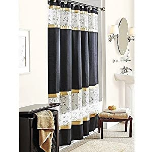 Spice Garden Fabric Shower Curtain Black Gold W Sheer White Embr