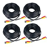 Monitoring Audio Video Power Supply Wires Cord 150ft Surveillance Camera Cables with Connector for CCTV DVR Security Camera Waterproof Cables Black 4 Packs - Prosshop