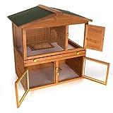 Happypet Hasenstall Kleintierstall Kaninchenstall 93 x 62,5 cm x 97 cm Meerschweinchen Kleintierhaus Nagerhaus -
