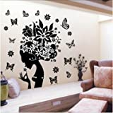 Pretty Butterfly Flower Fairy Girl Removable PVC Wall Sticker Home Decor Decals