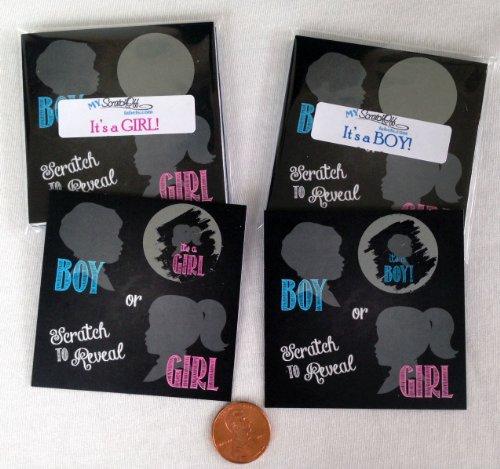 Gender Reveal Sex Scratch Off Cards Square - Vintage Chalkboard Design - 10 Cards. (Blue~ Boy) front-22220