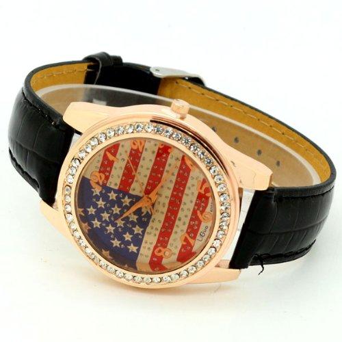 Conbays Black Us Flag Round Dial Crystal Girl Leather Quartz Wrist Watch Women Gift Luxury