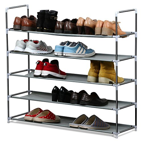 Yaheetech 25 Pairs Free Standing 5 Tier Shoe Tower Rack Chrome Steel Shoe Rack (Utility Shoe Rack compare prices)