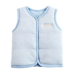 Monvecle Baby Organic Cotton Warm Vests Unisex Infant to Toddler Light Padded Waistcoat Blue Stripe 12-18m