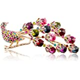 Fashion Plaza Vintage Style Peacock Brooch Pin Multi Color Crystals BR114