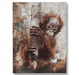 Neron Art - Hand painted Africa Oil Painting on Gallery Wrapped Canvas - Monkey 36X48 inch