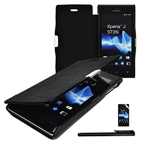 4in1 Slim Case für Sony Xperia J ST26i Handy Tasche Hülle mit Magnetverschluss in Schwarz aus Kunstleder und Kunststoff + 1x gratis Displayfolie + 1xTouchpen