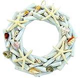 Driftwood Wreath with Starfish & Seashells Large Nautical Beach Decor 14 1/2 Inch
