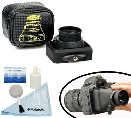 "Hoodman Collapsible Hoodloupe / Viewfinder Display Magnifying Loupe / Glare Free Viewing For Canon Eos 5D Mark Iii, 1D X, 1D C And For All Digital Cameras With 3.2"" Lcd Screens And A Free 5 Piece Camera/Camcorder Deluxe Cleaning Kit"