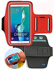 buy Deego Premium Running Series Easy Fit Galaxy Note 5 Edge S6 Edge Plus + Note 4 Note 3 Sports Armband Exercise Gym Jogging Running Walking Fits Lg G4 G Stylo Zte Zmax + Key Holder Sweat Proof (Red)