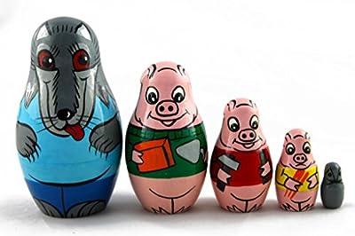 Matryoshka Matrioska Babuska Russian Nesting Wooden Doll Three Little Pigs Fairy Tale Matreshka Babooshka 5 Pc Stacking Hand Painting Matriosjka Matrioska Matreshka Matrjoska Matroeska
