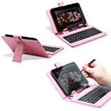 Fosmon Leather Case with USB Keyboard and Stylus for Zeepad 7.0 - Pink