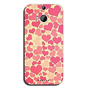 Mozine Pink Love Pattern printed mobile back cover for HTC one m8