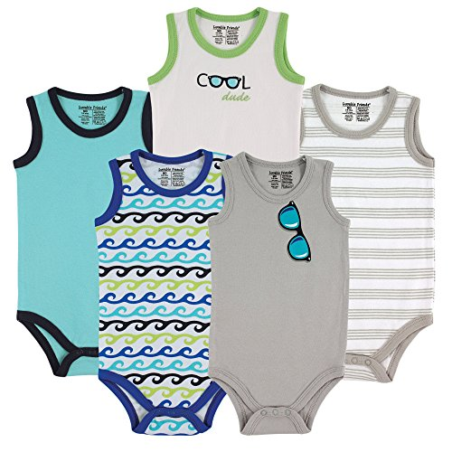 Luvable Friends 5-Pack Lightweight Sleeveless Bodysuits, Boy Sunglasses, 3-6 Months