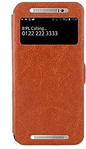 CUBIX® HTC One E8 CDMA Case, Flip Case Cover With Stand for HTC One (E8) CDMA (Brown)