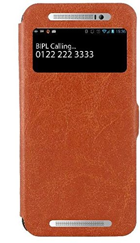 HTC One E8 Dual Sim Case, Wallet Case Premium [Heavy Duty Protection] Protective Stand Flip Cover Case for HTC One E8 Dual Sim (Brown)  available at amazon for Rs.299