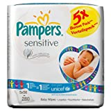 Pampers Baby Wipes Sensitive 5 Packs 280 Wipes