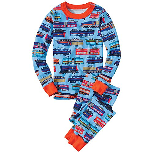 Hanna Andersson Little Boy Long John Pajamas In Organic Cotton, Size 120 (6-7), Full Steam Ahead front-1052484