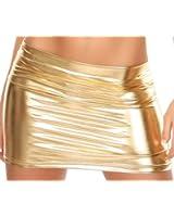 Minirock Rock in Leder-Optik Wet-Look schwarz gold oder silber Einheitsgröße für 34,36,38